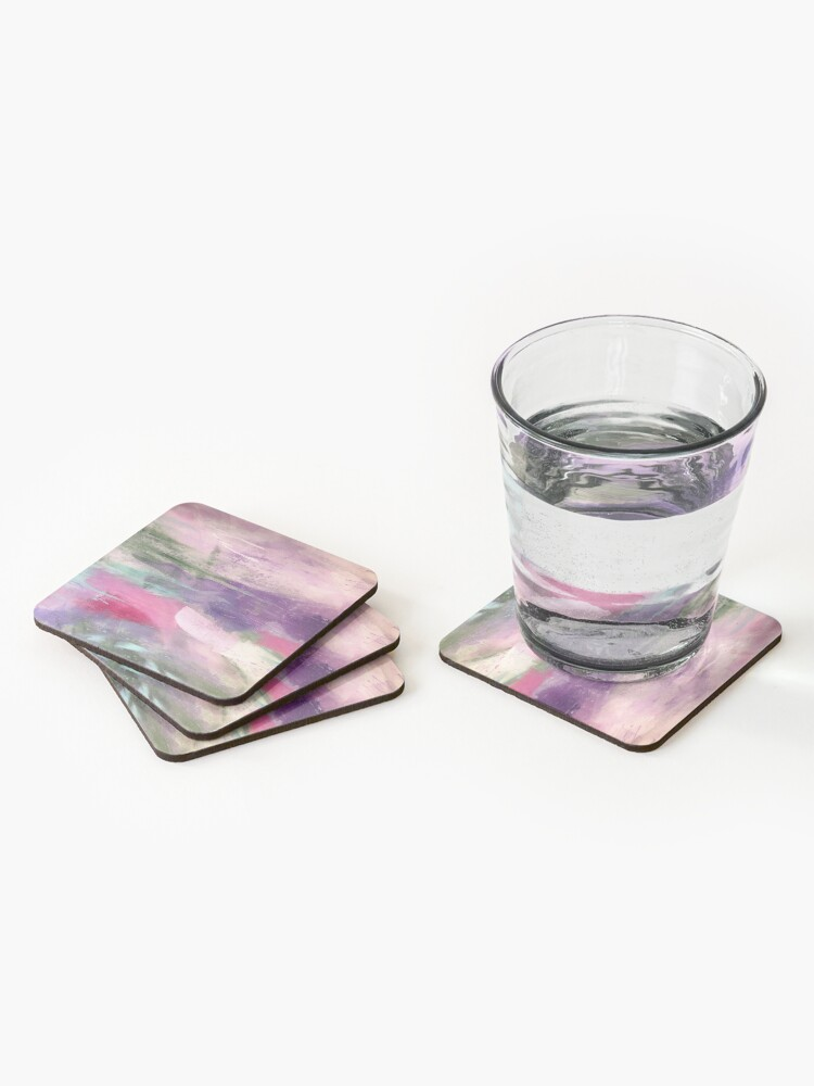 "Alternate view of ""Kaleidoscope"" pastel abstract painting by Sandra Vincent Coasters (Set of 4)"