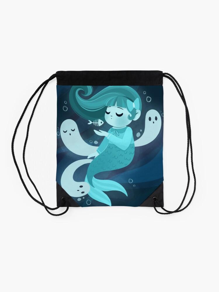 Alternate view of Ghost Mermaid Drawstring Bag