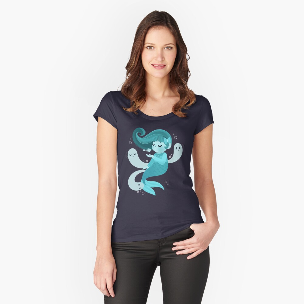 Ghost Mermaid Fitted Scoop T-Shirt