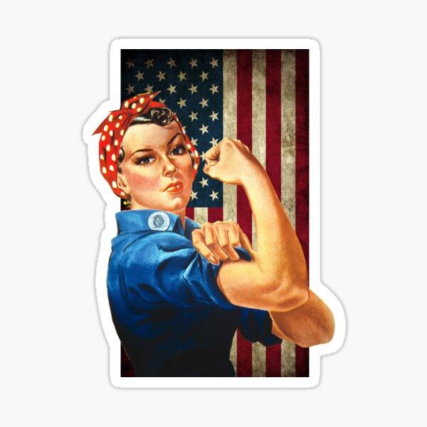 Rosie the Riveter American Flag Sticker