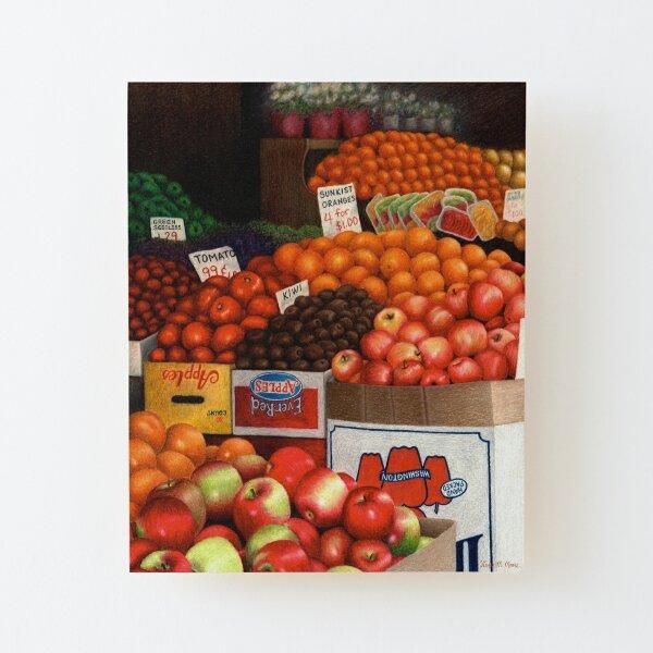 Mercado de productos de Nueva York Lámina montada de madera