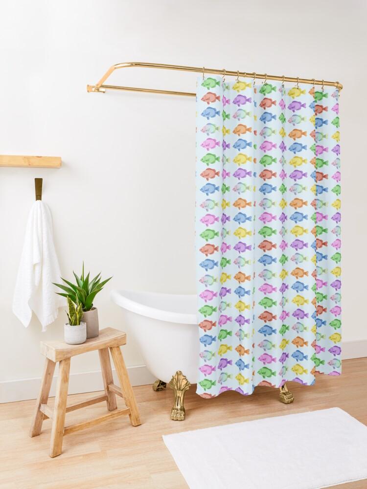 Vista alternativa de Cortina de ducha Peces multicolores