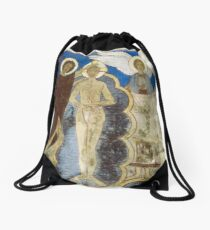 Baptism Jesus Reconstructed Wall painting Church Jelling Denmark 19840625 0024 Drawstring Bag