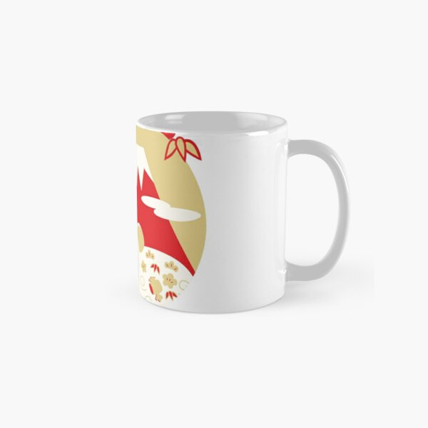 It is an illustration of a mouse, Mt. Fuji, pine, bamboo, and plum. Classic Mug