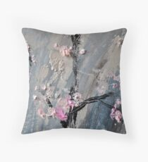 Tree in bloom zoomed part of the Gate Throw Pillow