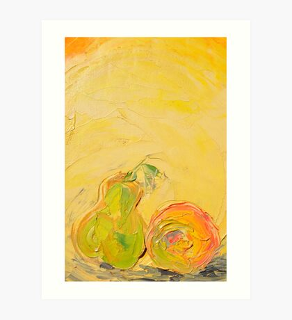 Apple and Pear now friends! Art Print