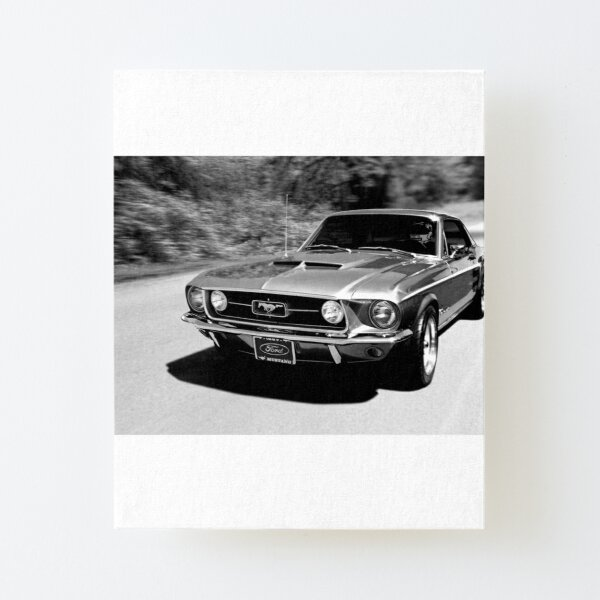 1967 Ford Mustang B/W  Canvas Mounted Print