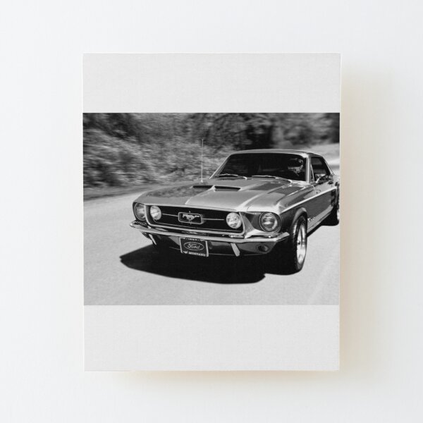 1967 Ford Mustang B/W  Wood Mounted Print