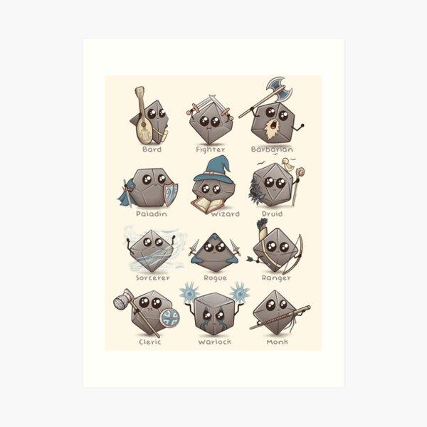 Kawaii DnD Klassen - DnD Dungeons & Dragons D & D Kunstdruck