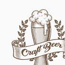 Craft Beer Emblem im Gravurstil gezeichnet. von devaleta