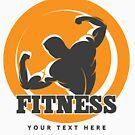Bodybuilder Fitness Emblem aufwerfen. von devaleta