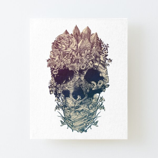 Skull Floral Canvas Mounted Print