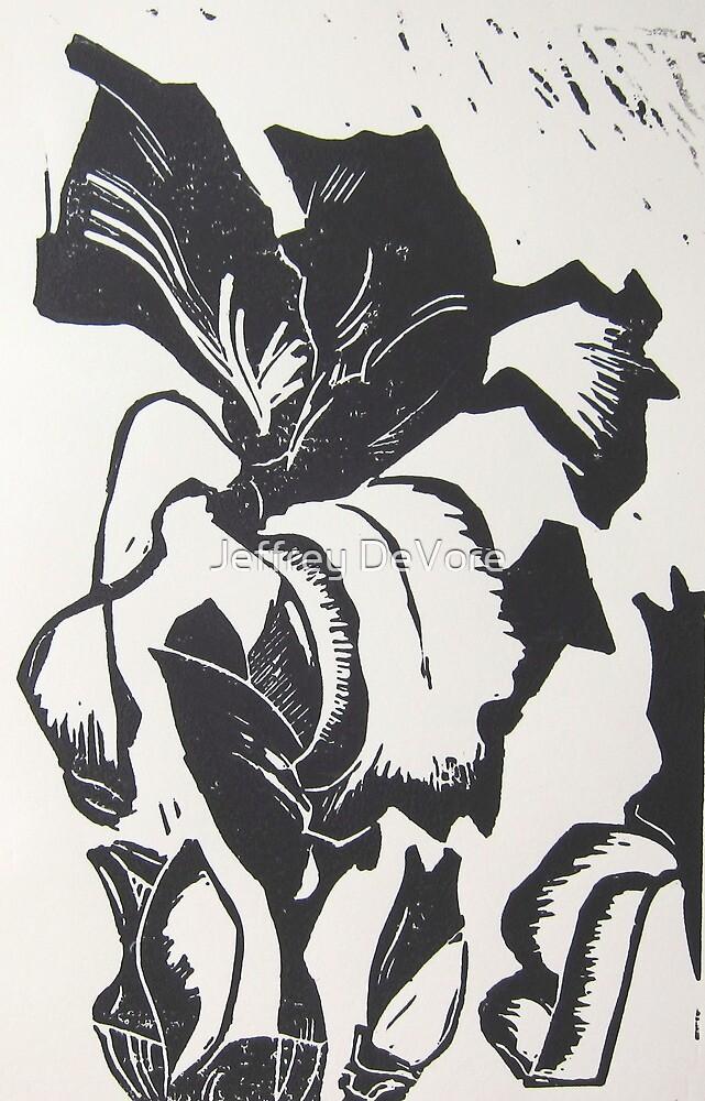 Iris Wood Block by Jeffrey DeVore
