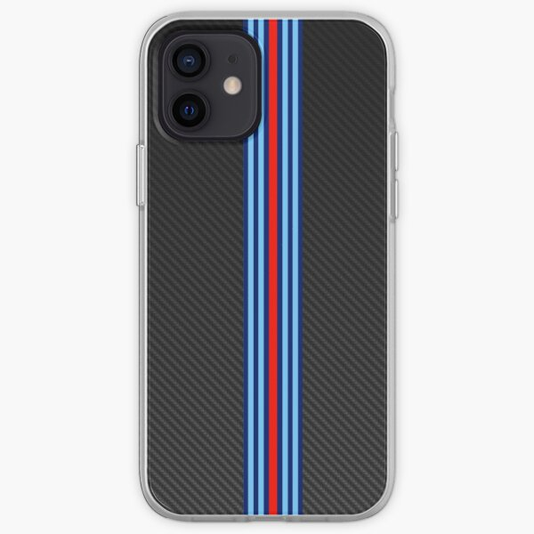 Rayas de fibra de carbono Racing 3 Funda blanda para iPhone