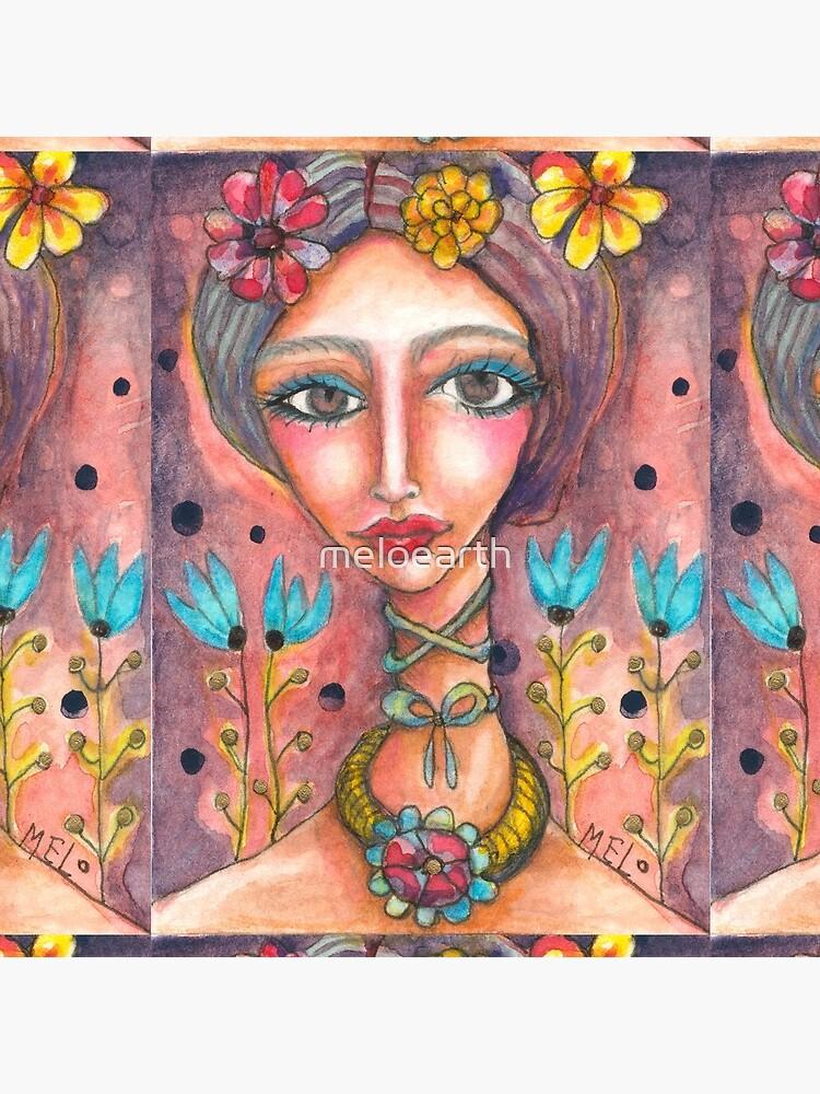 Frida Kahlo & Blue Tulips by meloearth