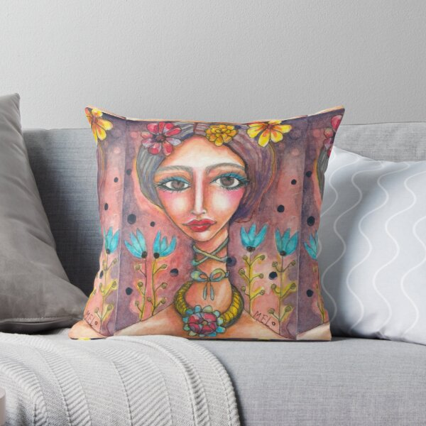 Frida Kahlo & Blue Tulips Throw Pillow