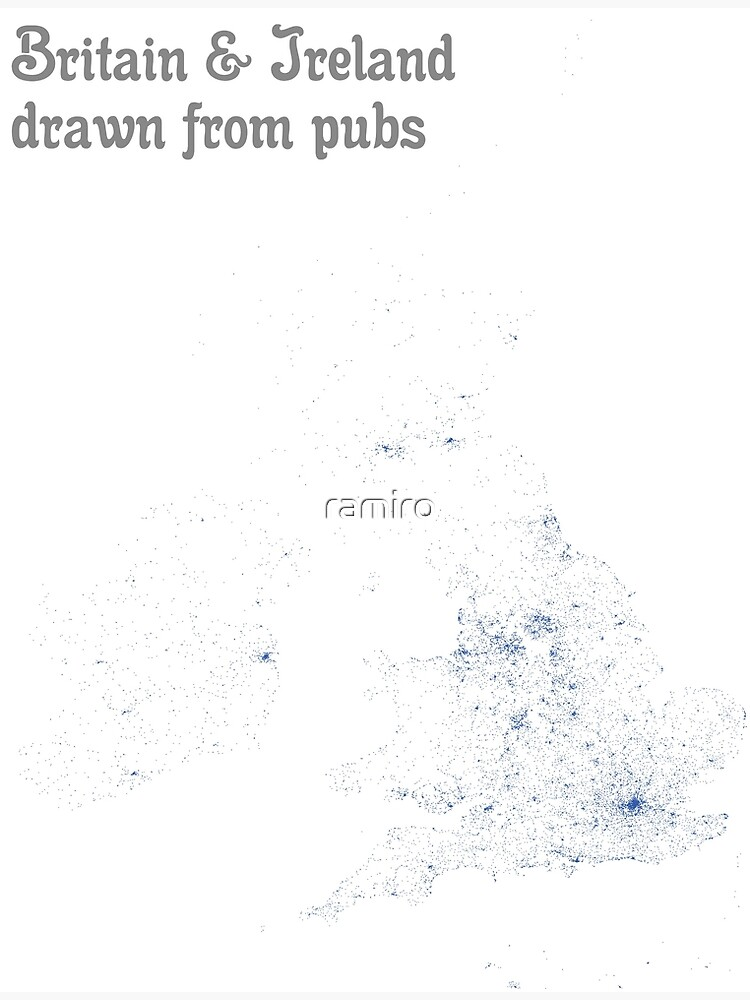 Britain & Ireland drawn from pubs - Map Print by ramiro