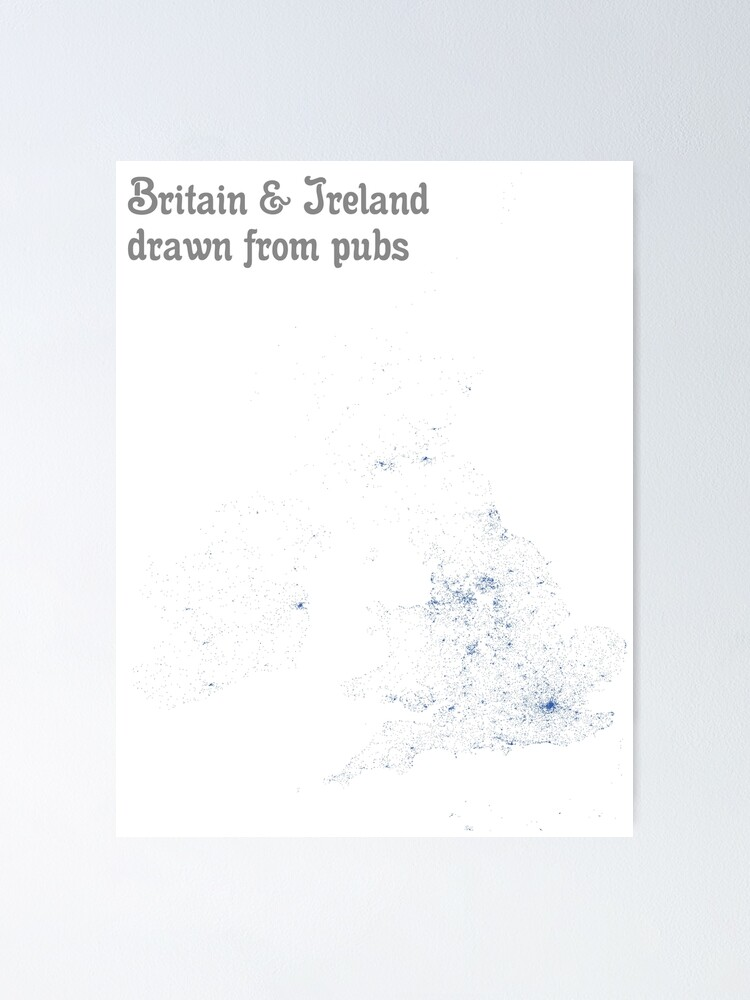Alternate view of Britain & Ireland drawn from pubs - Map Print Poster