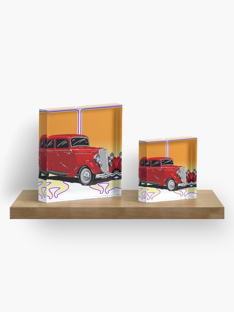 Alternate view of RED HOT ROD Acrylic Block