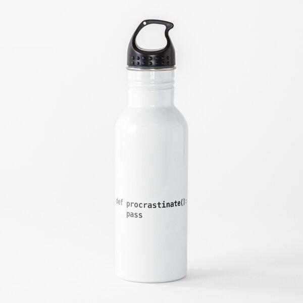 def procrastinate pass - Programmer Humor for Pythonistas Black Font Water Bottle