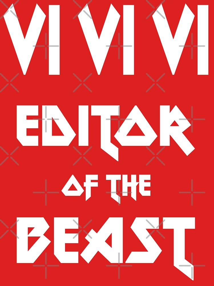 VI VI VI Editor of the Beast - Funny Metal Design for Programmer White Font by ramiro