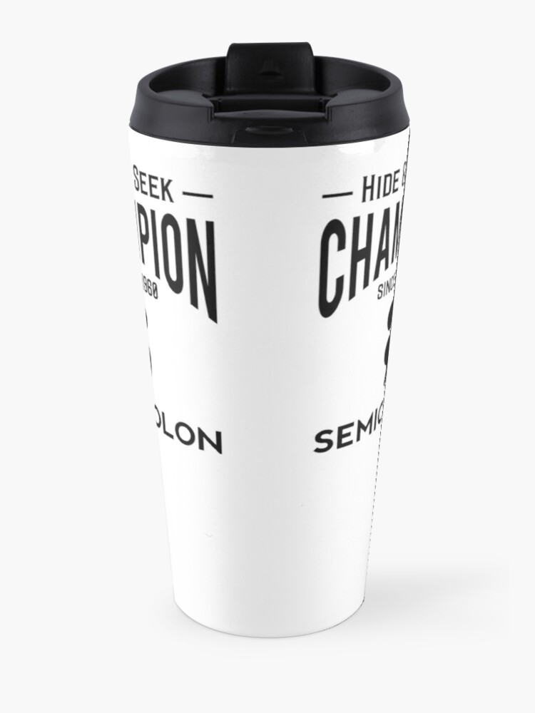 Alternate view of Hide & Seek Champion since 1960 Semicolon - Black on Grey Programmer Humor Travel Mug