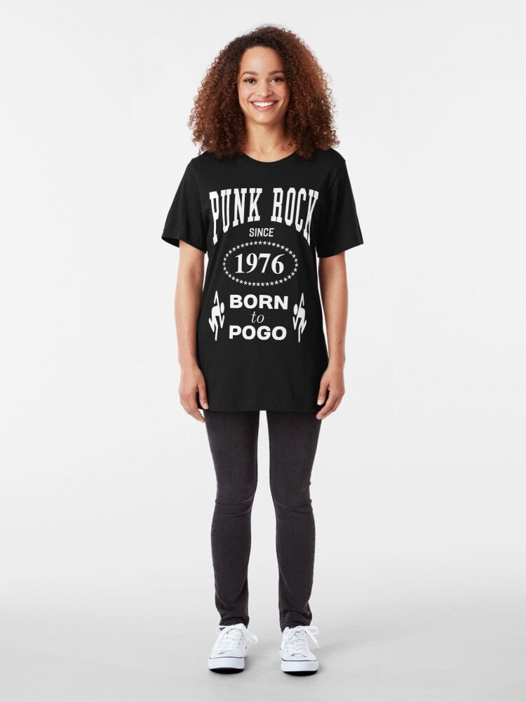 Alternate view of Punk Rock Since 1976 Born to Pogo - White on Black Punk Rocker Design Slim Fit T-Shirt