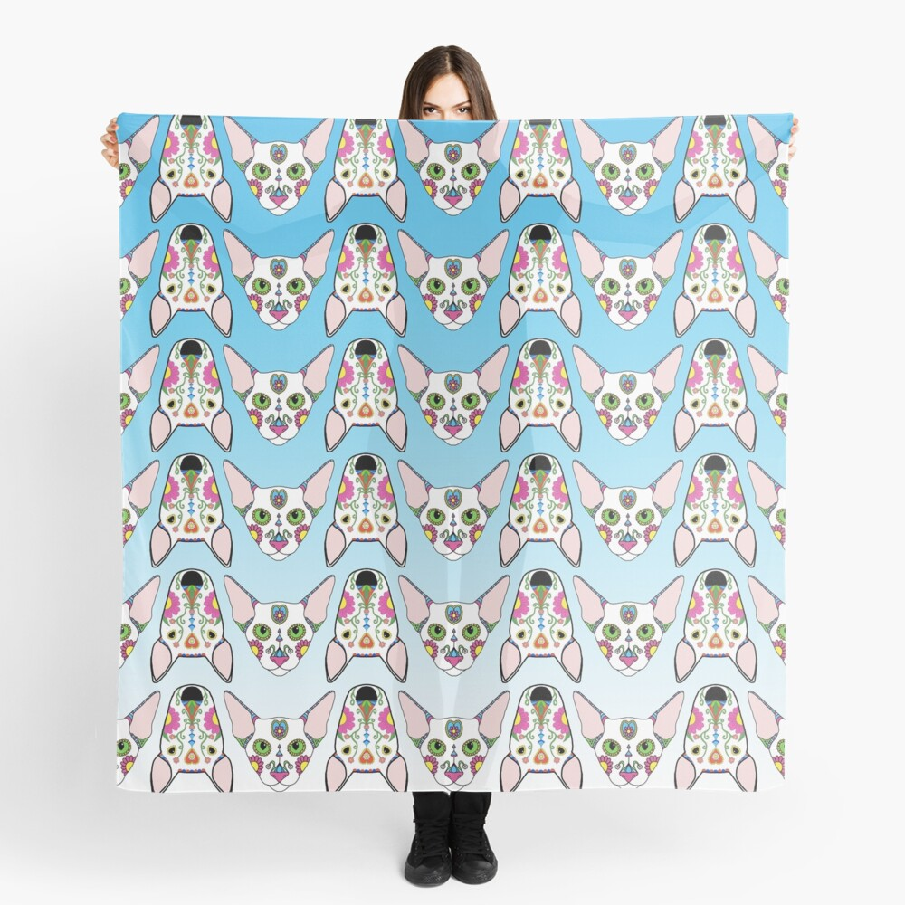 Blue Ombre Cats and Dogs Scarf