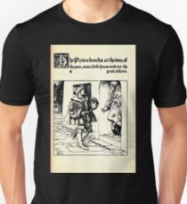 The Wonder Clock Howard Pyle 1915 0131 The Prince Knocks at the Door Poor Mean Little House Unisex T-Shirt