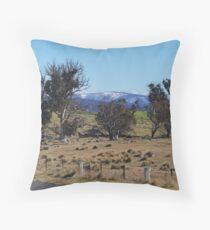 Snowy Mountains Pasture Throw Pillow