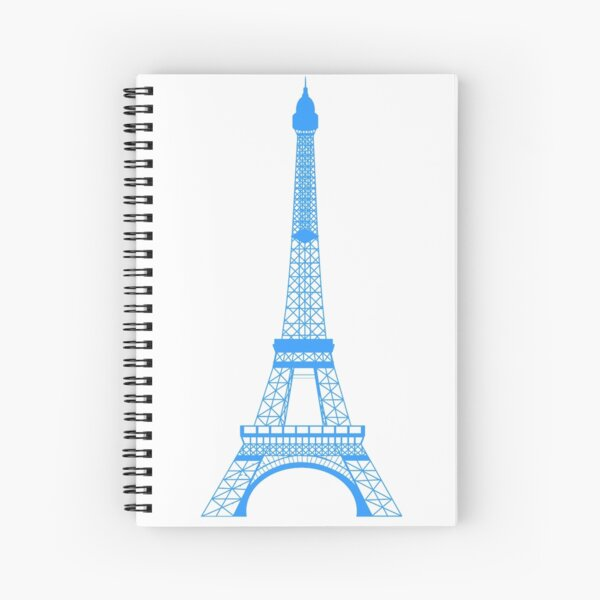Teal Blue Eiffel Tower Spiral Notebook