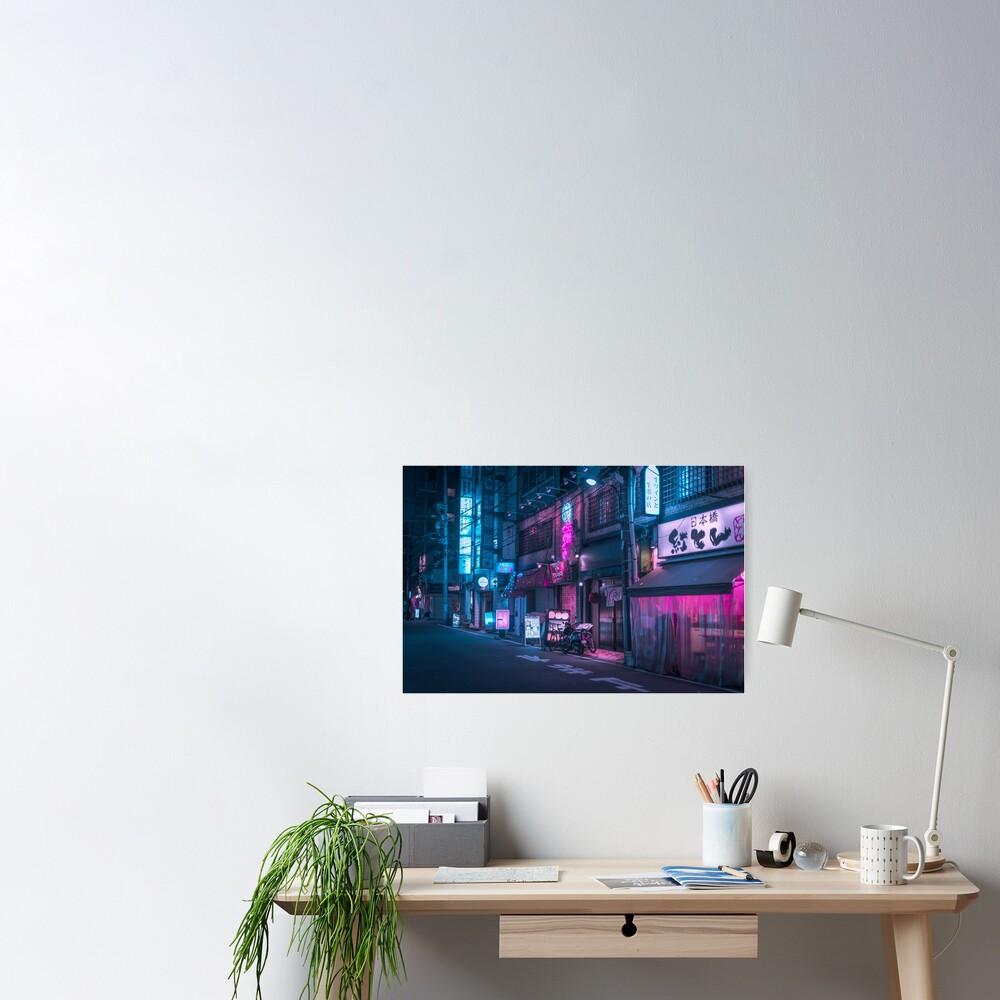 Neon and Brick wall Poster