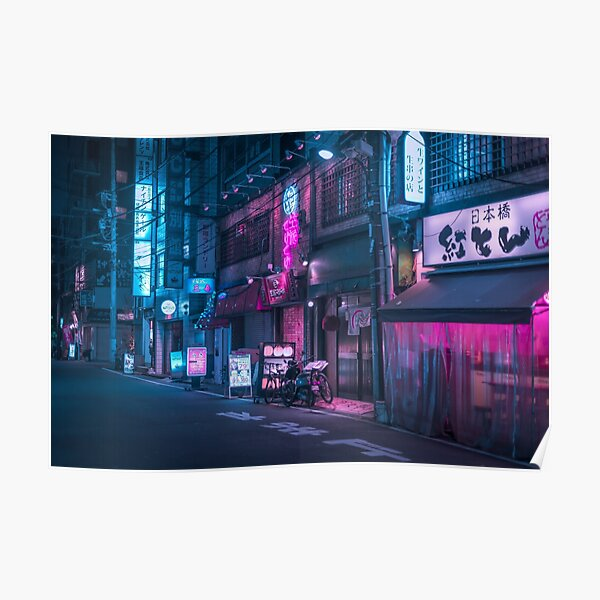 Neon and Brick wall Poster