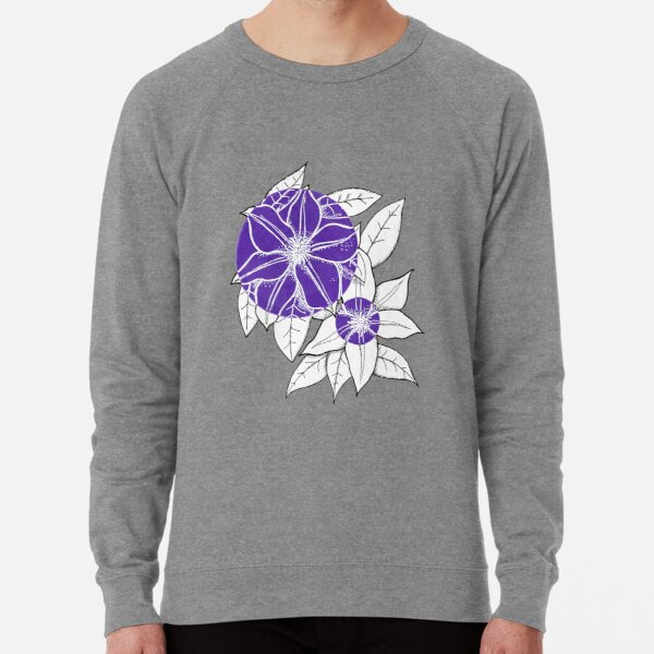 Purple Clematis Flowers Lightweight Sweatshirt
