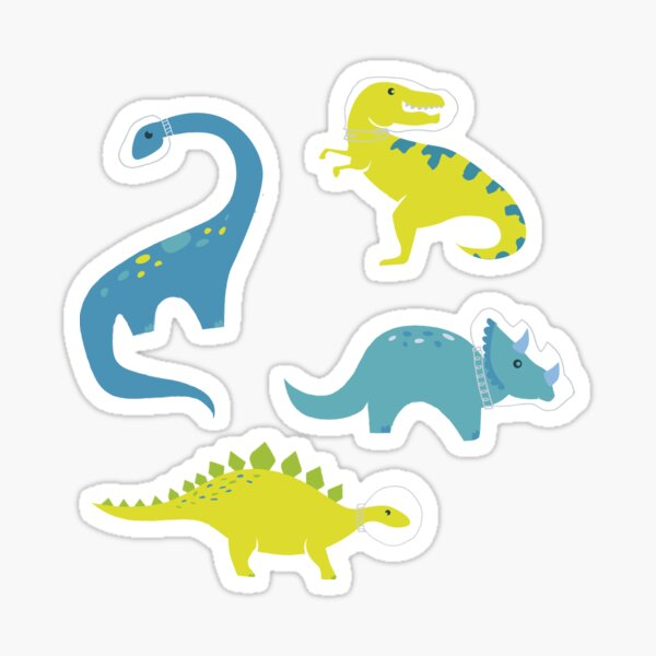 Space Dinosaurs in Bright Green and Blue Sticker