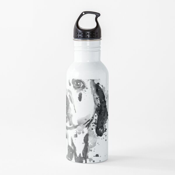 Black And White Half Faced Dalmatian Dog Water Bottle