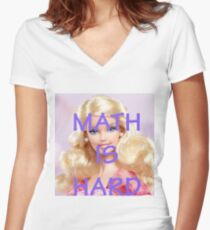 Math Is Hard-- Doll Women's Fitted V-Neck T-Shirt