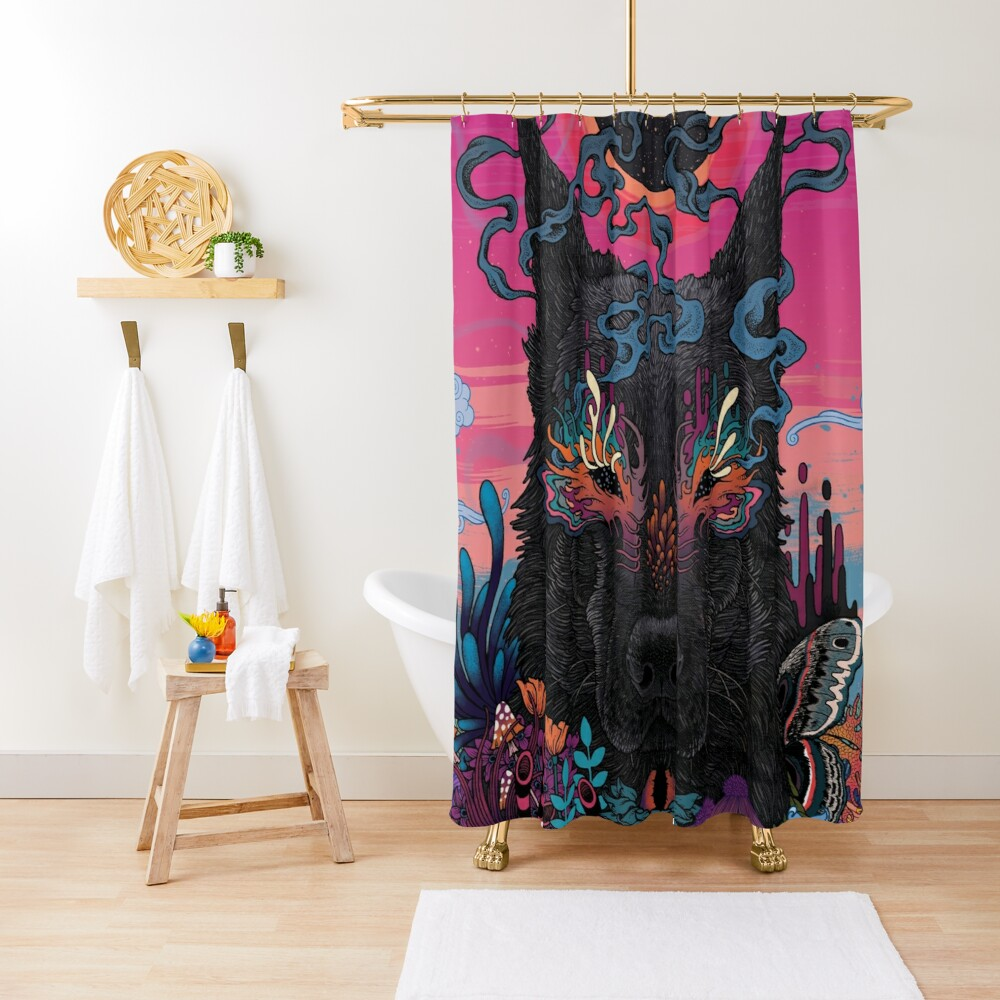 Black Eyed Dog Shower Curtain