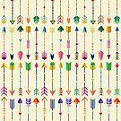 Buntes Stammes- Pfeil-Muster mit gelbem Hintergrund von kennasato