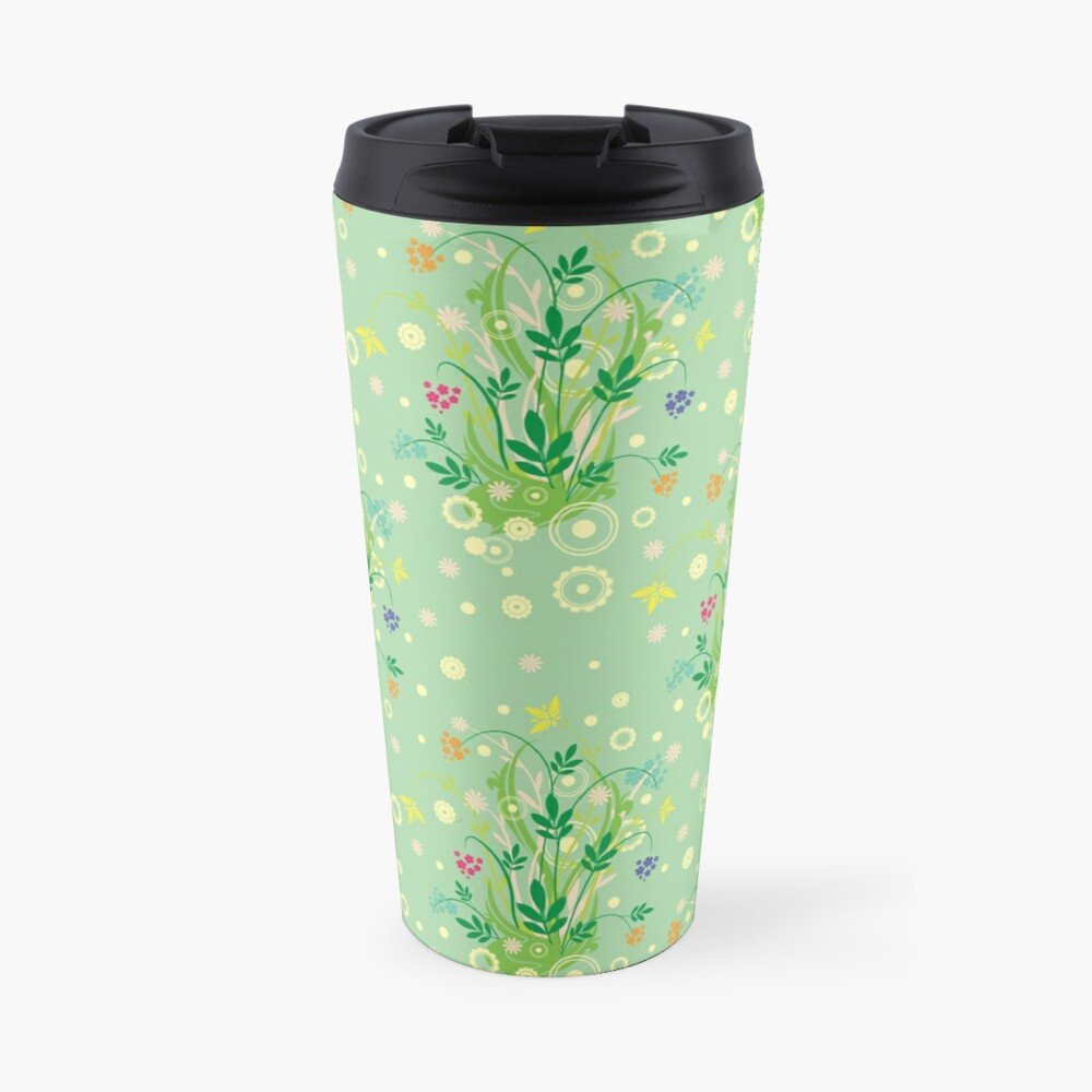 Decorative products with floral ornament. Travel Mug