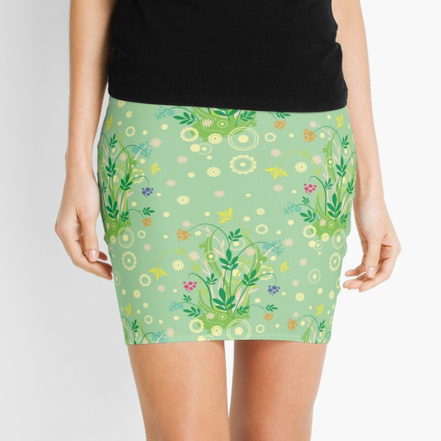 Decorative products with floral ornament. Mini Skirt
