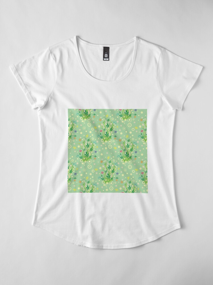 Alternate view of Decorative products with floral ornament. Premium Scoop T-Shirt