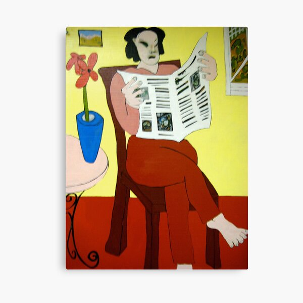 Woman Reading Newspaper Canvas Print