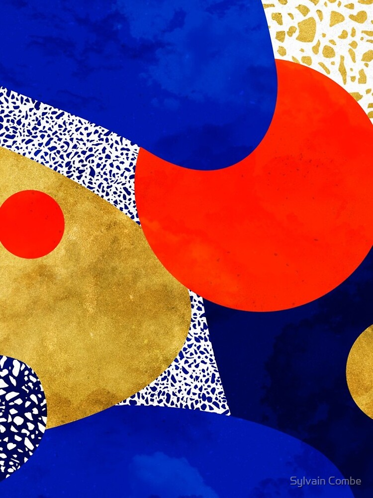 Terrazzo galaxy midnight blue yellow golden orange by SylvainCombe