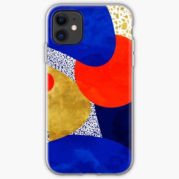 Terrazzo galaxy midnight blue yellow golden orange iPhone Soft Case
