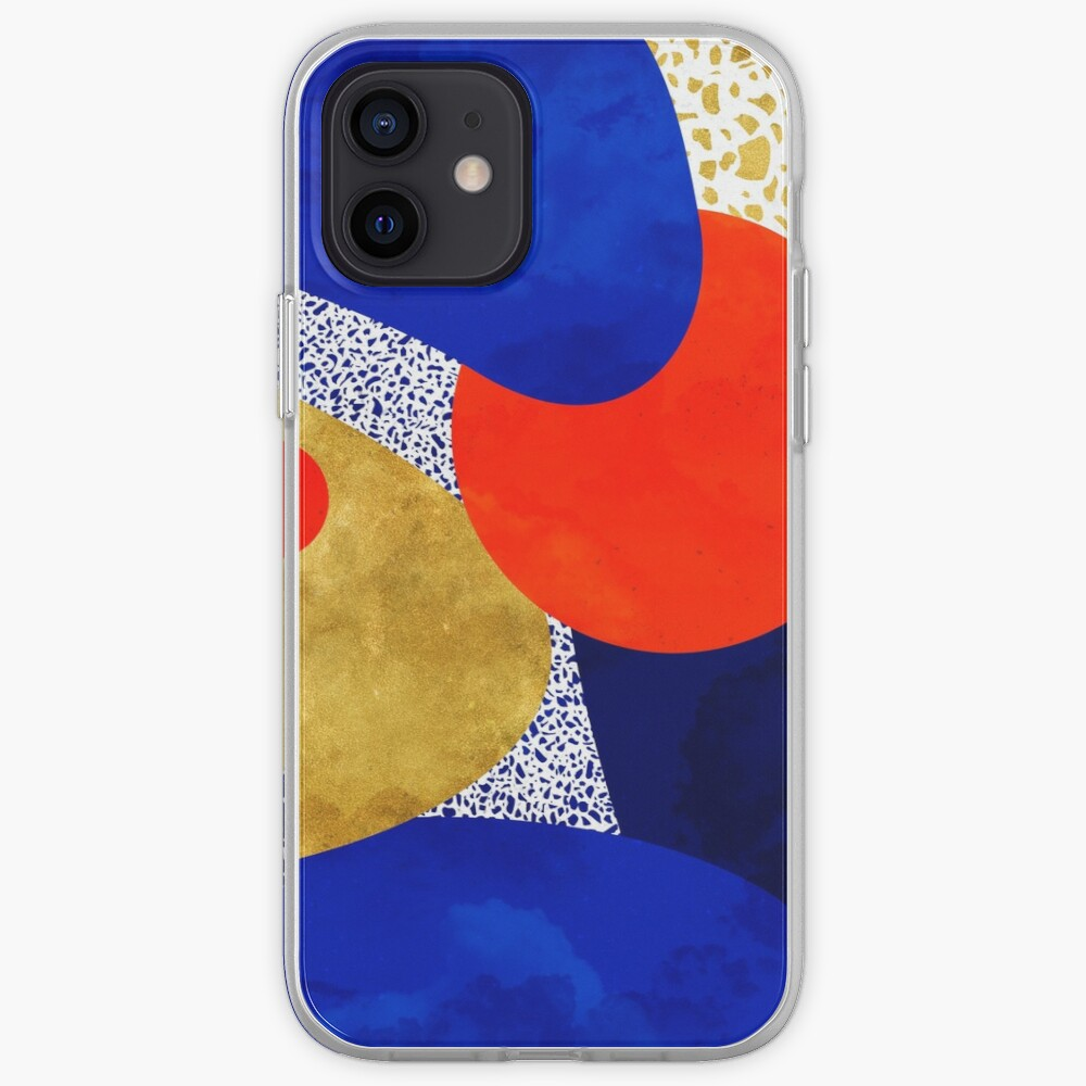 Terrazzo galaxy midnight blue yellow golden orange iPhone Case & Cover
