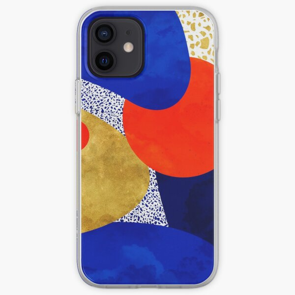 Terrazzo galaxy midnight blue yellow golden orange iPhone Soft Case