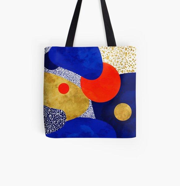 Terrazzo galaxy midnight blue yellow golden orange All Over Print Tote Bag