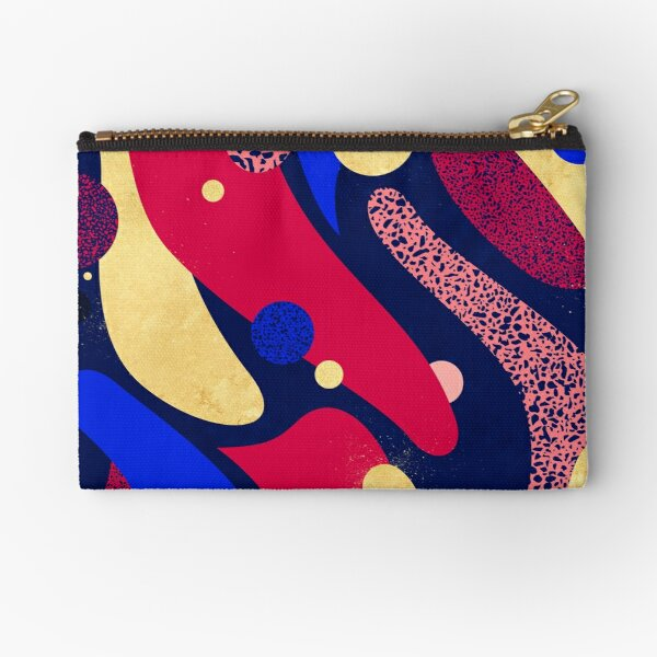 Psychedelic terrazzo galaxy midnight blue golden red Zipper Pouch