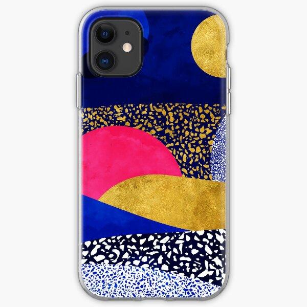 Terrazzo galaxy midnight blue yellow rose gold iPhone Soft Case